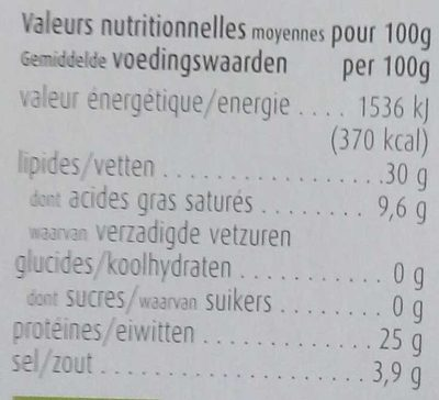 Lombarda - Nutrition facts
