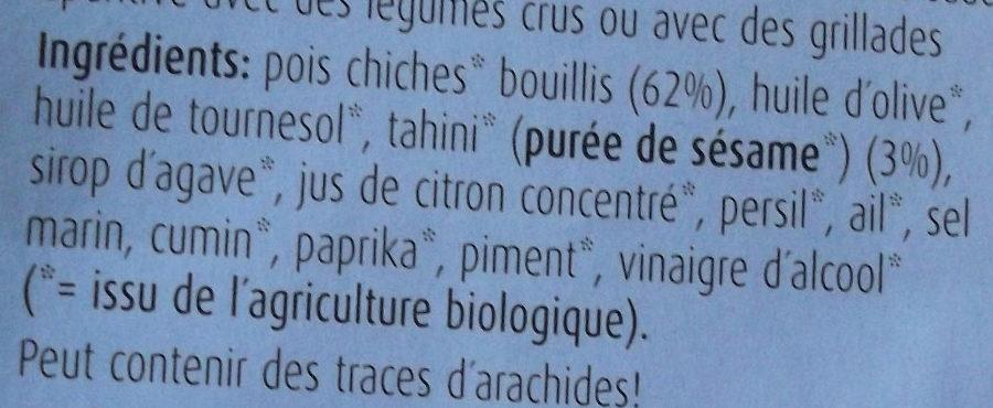 Houmous Tahini au sésame - Ingredienti - fr