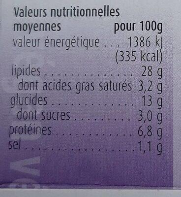 Houmous Tahini au sésame - Valori nutrizionali - fr