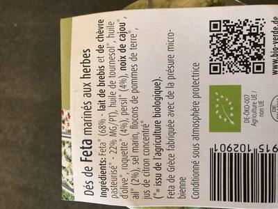 Dés de Feta Marinés aux Herbes - Ingredients
