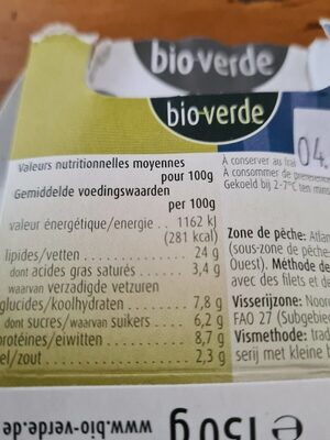 Bio verde Heringssalat In Joghurt dill sauce - Nutrition facts