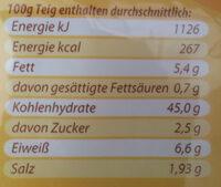Frischer Pizzateig - Voedingswaarden - de