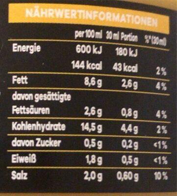 Dip! Hot Cheese - Nährwertangaben - de