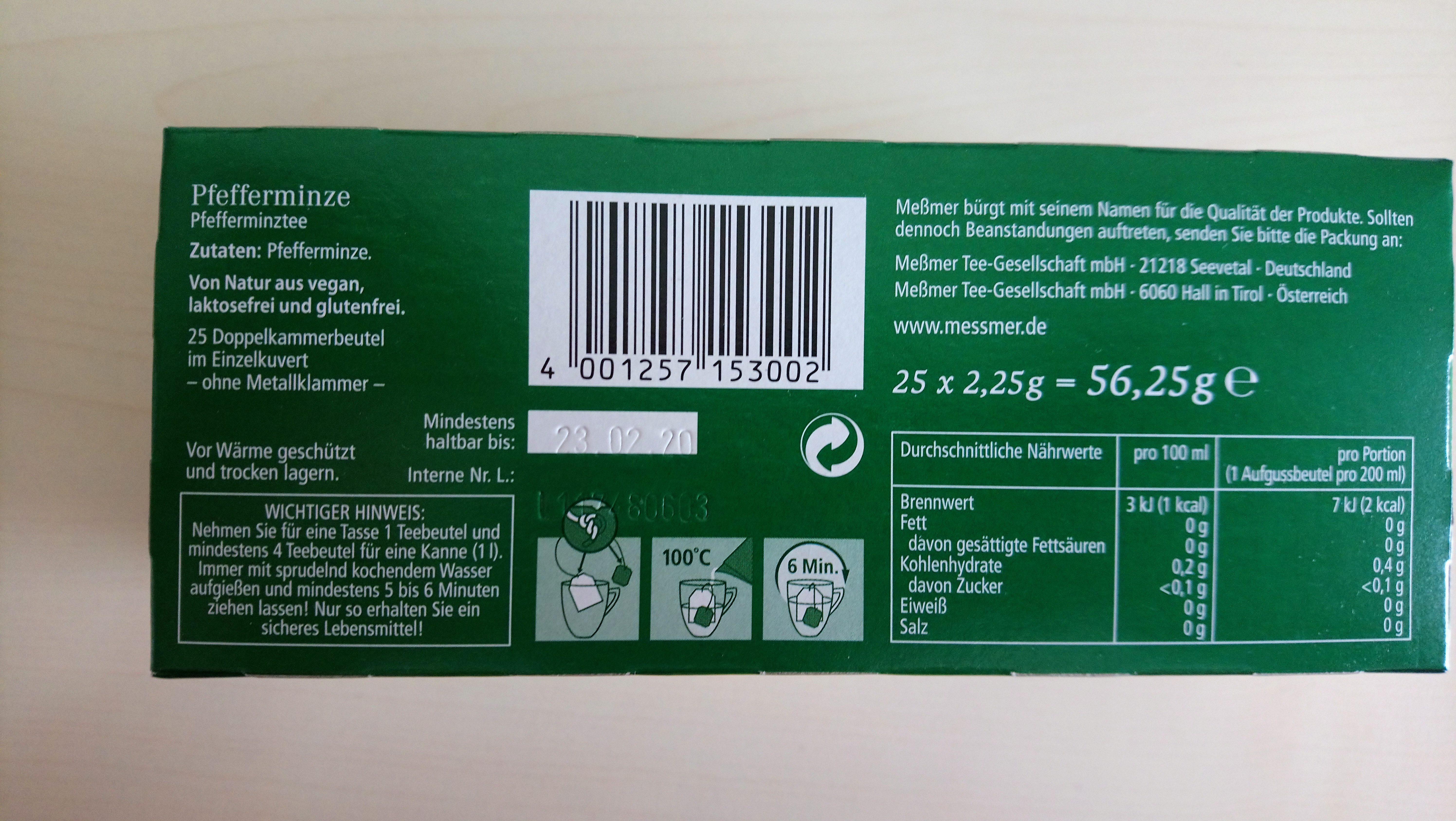 Pfefferminztee - Ingredients - de