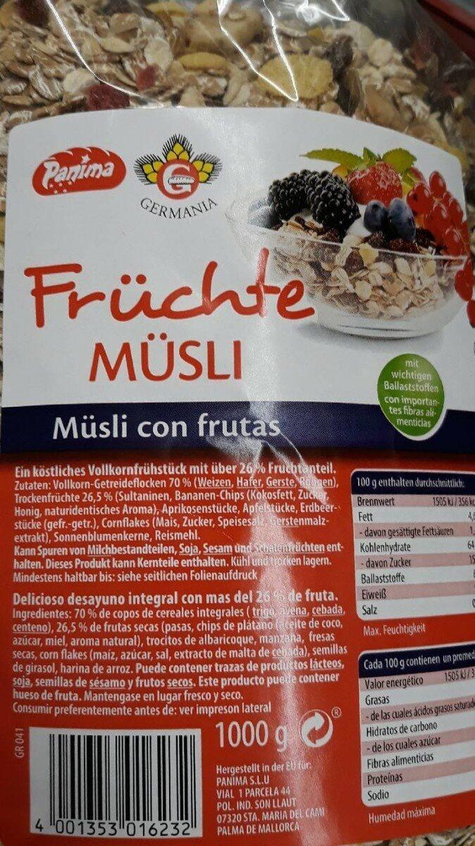 Frutche musli - Información nutricional