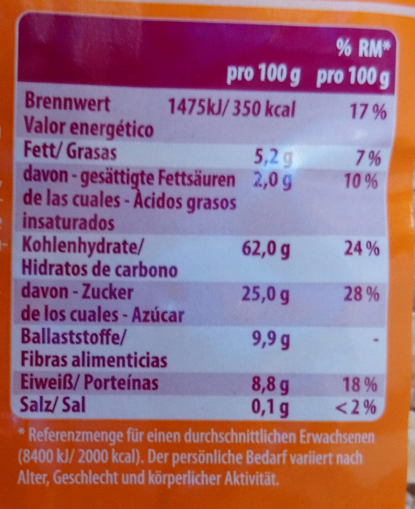 VITAL-Müsli - Información nutricional - es