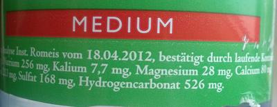 Aquarissima Naturquelle Medium - Informations nutritionnelles
