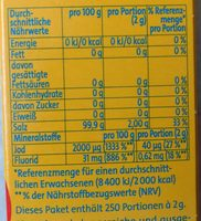Alpen JodSalz (+Fluorid) - Nährwertangaben