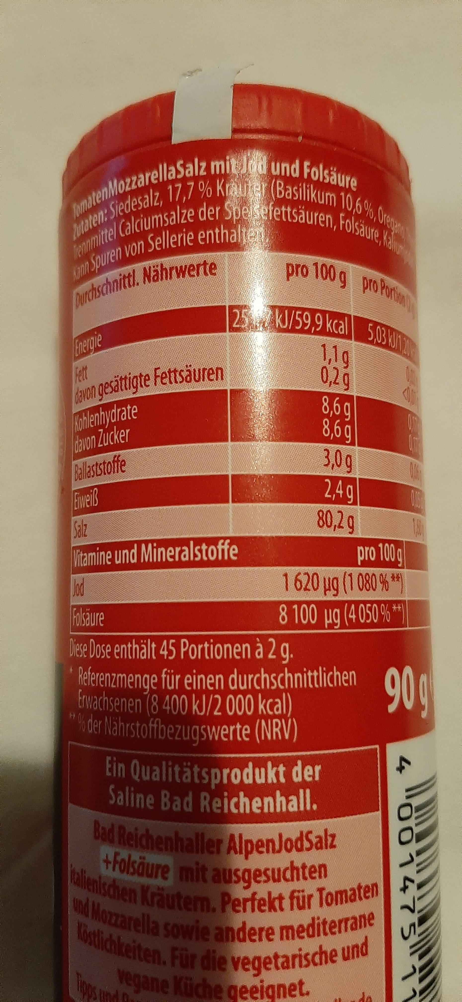 Bad Reichenhaller Tomaten-Mozzarella Salz - Ingredients - de