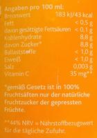 Hohes C Orange - Informations nutritionnelles