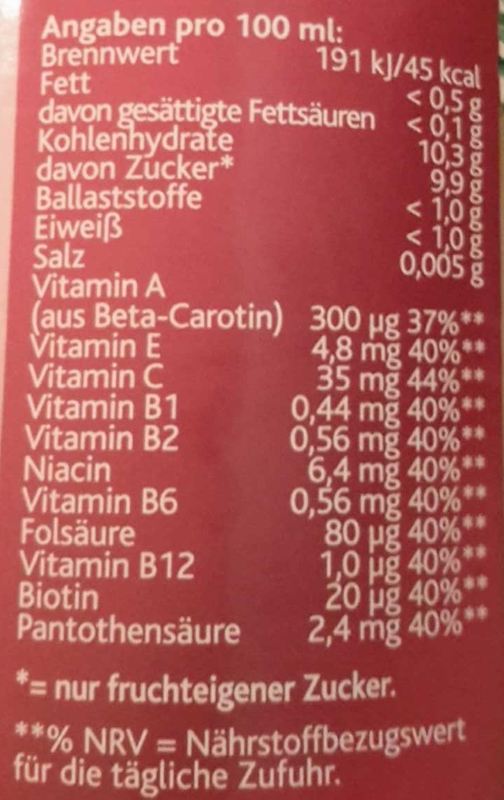 Hohes C Multivitamin - Informations nutritionnelles