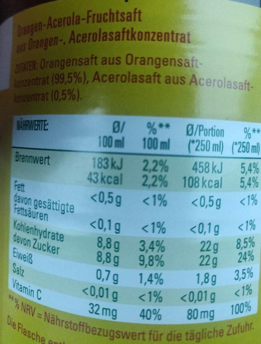 Milde Orange - Informations nutritionnelles - de