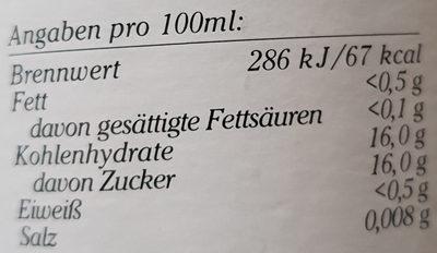 Weisser Traubensaft - Nährwertangaben