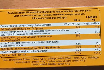 Soft Cake Himbeere - Nutrition facts - fr