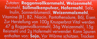 Gebäck - Knusperbrot - Vitamine & Mehrkorn - Ingrédients - de