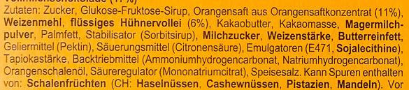 Soft cake Orange Vollmilch - Ingrédients - de