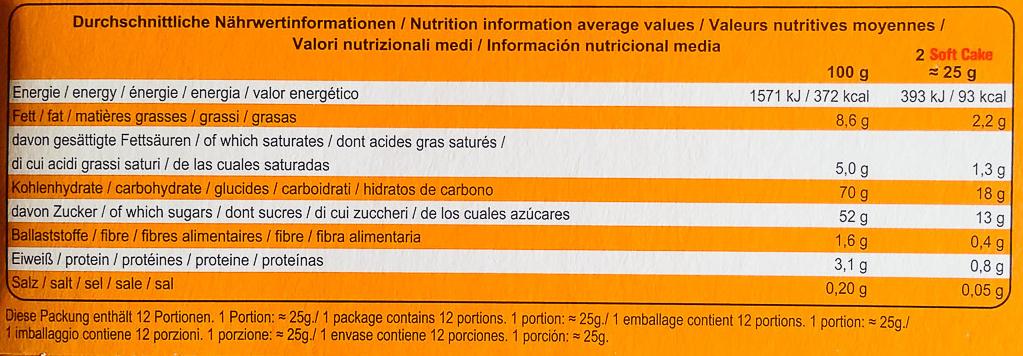 Soft cake Orange Vollmilch - Informations nutritionnelles - de