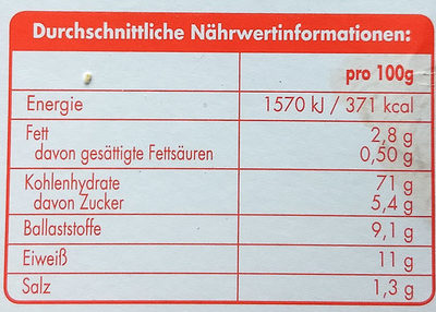Leicht & Cross Vollkorn - Informations nutritionnelles