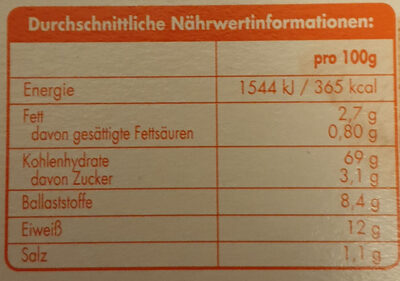 Knäcke Vollkorn - Nutrition facts - de