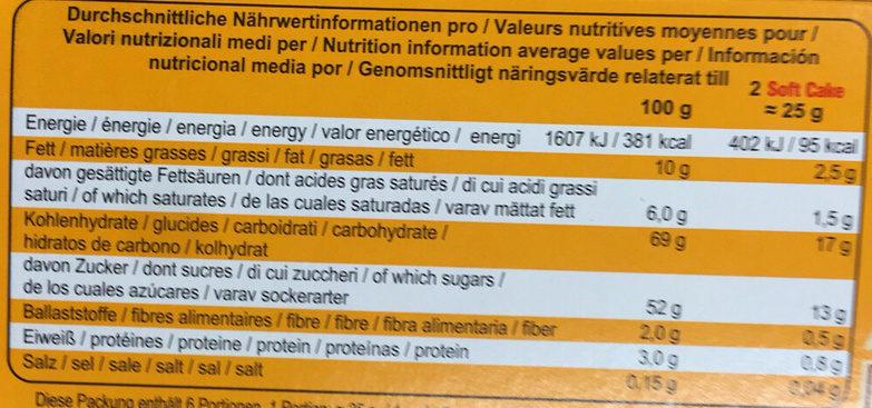 Soft Cake : Orange : Chocolat Noir - Informazioni nutrizionali - fr