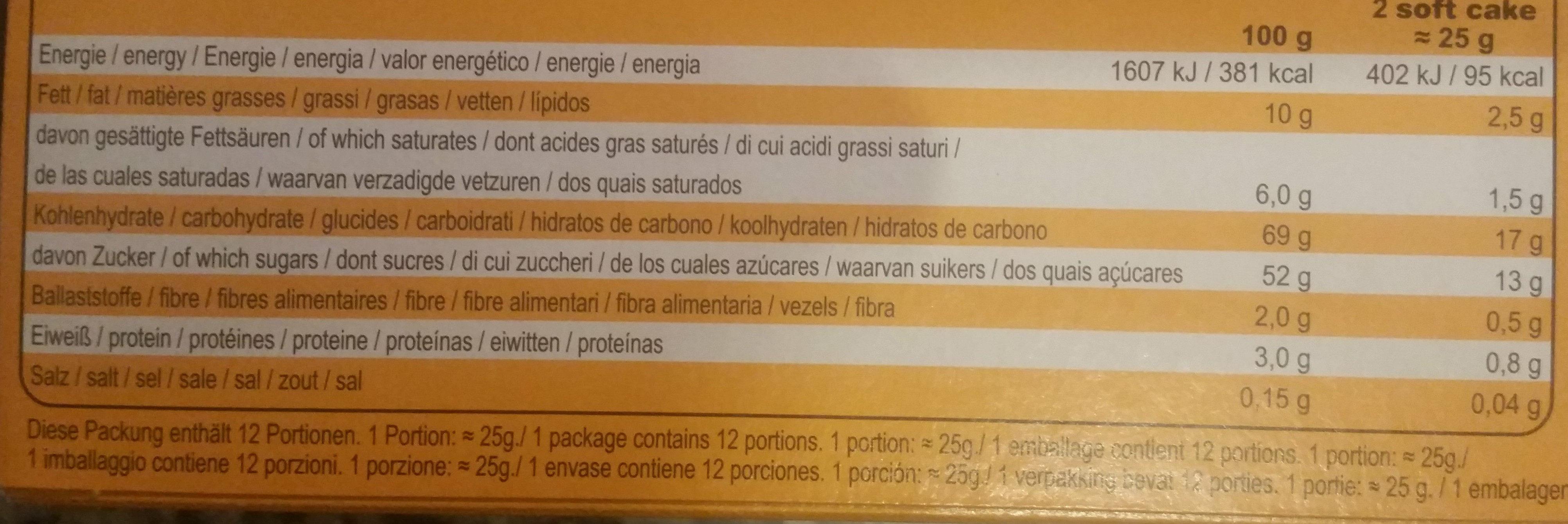 Soft Cake Orange - Voedingswaarden