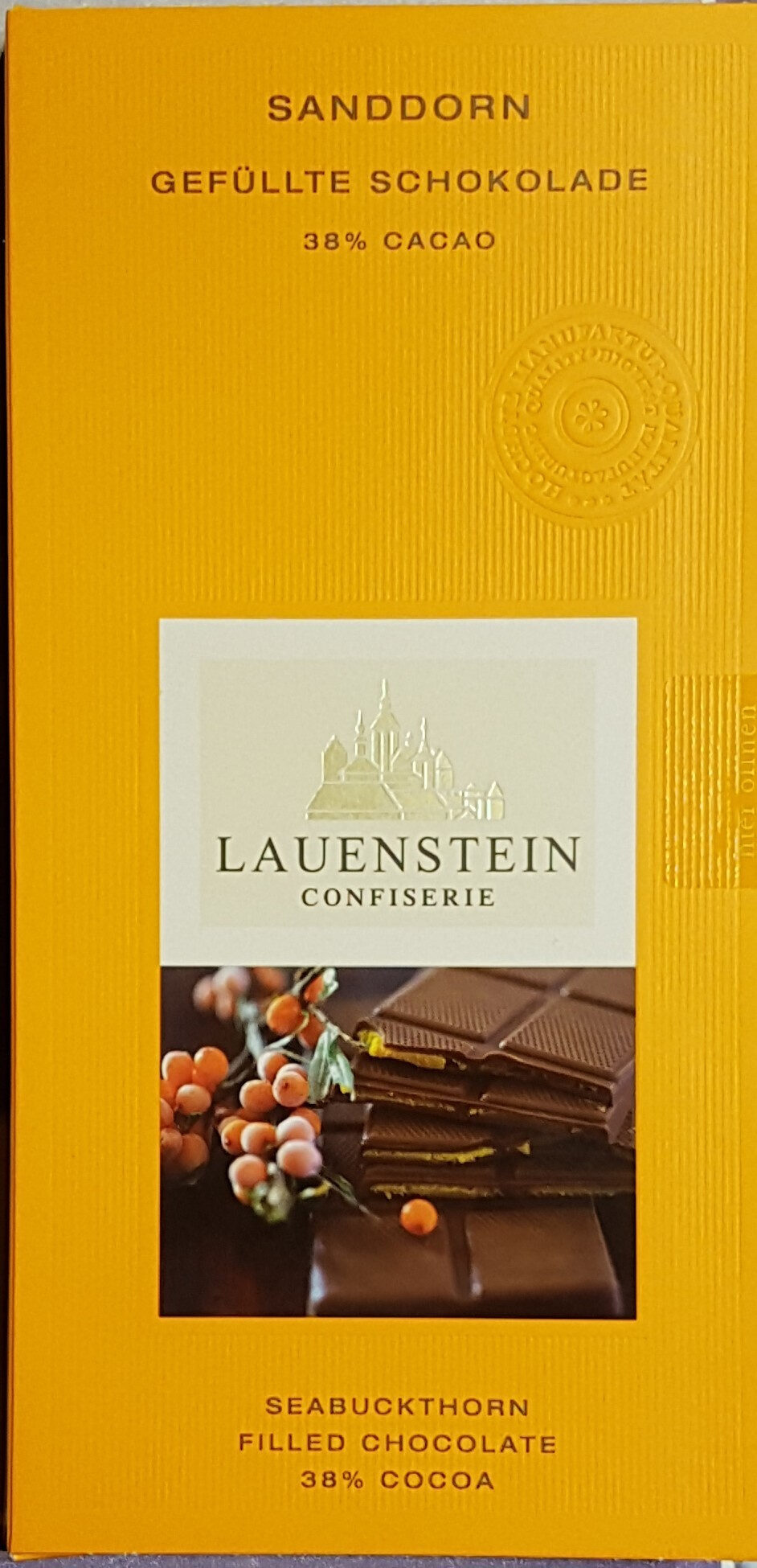 Sanddorn gefüllte Schokolade - Product