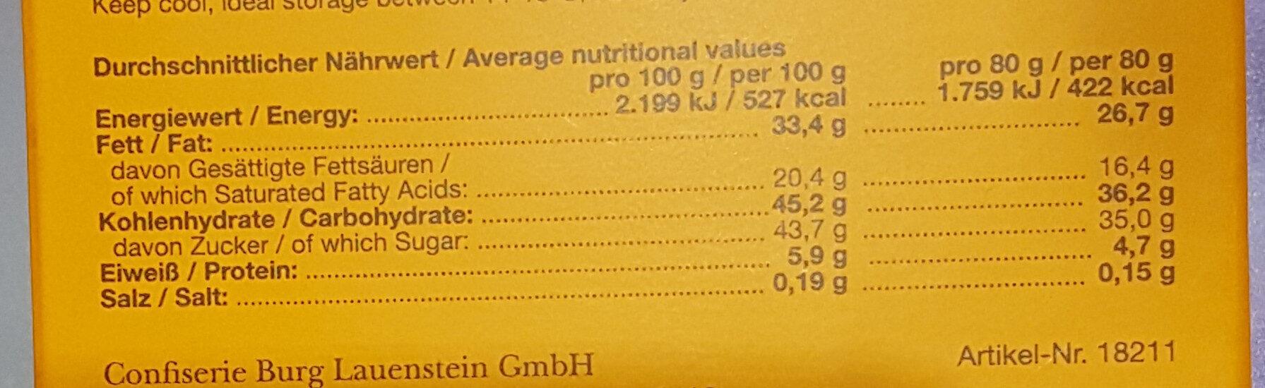 Sanddorn gefüllte Schokolade - Nutrition facts