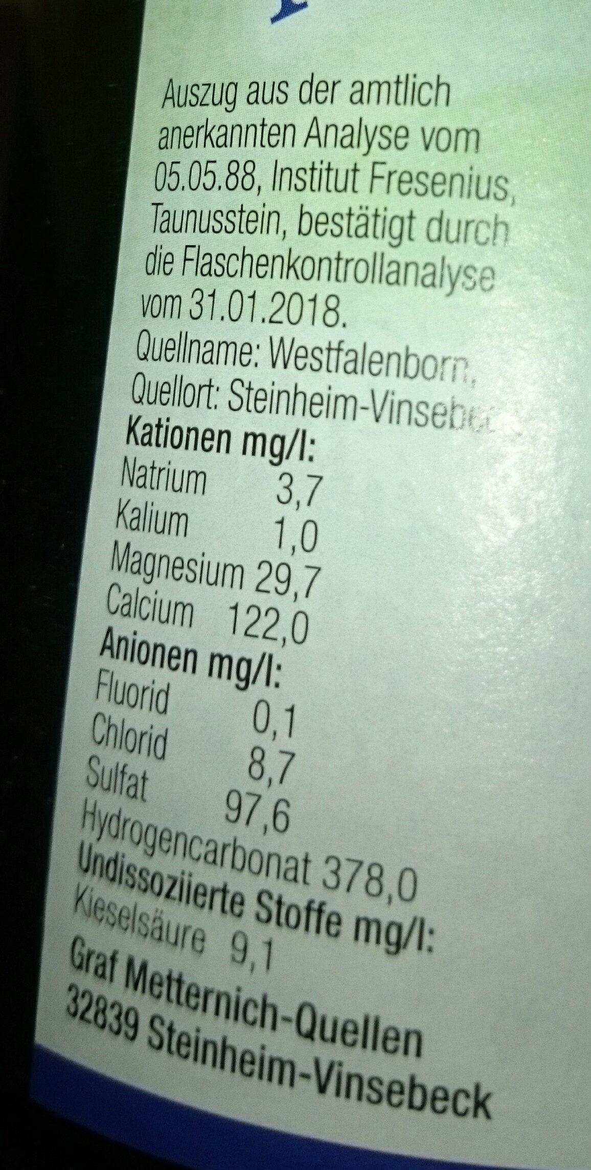 Naturliches  Mineralwasser - Ingredienti - de