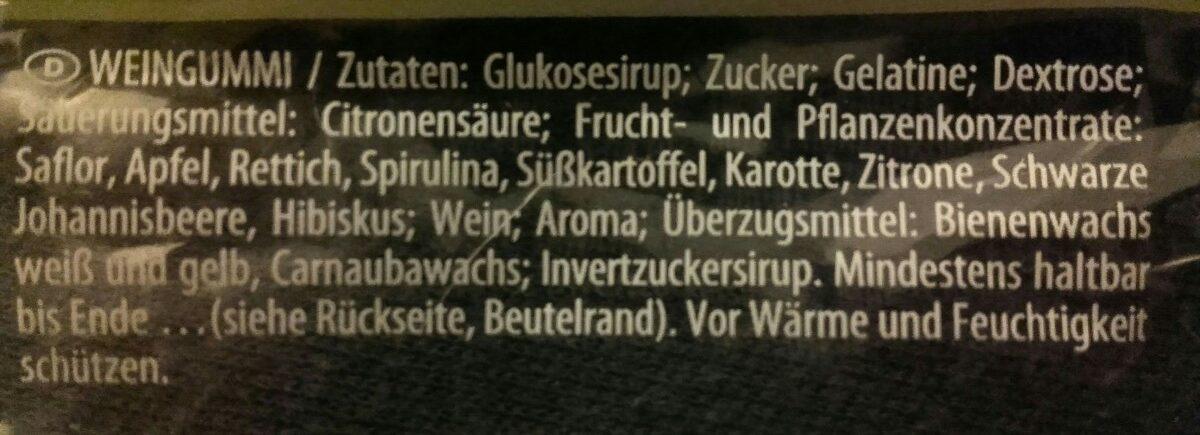 Haribo Weinland 200G - Ingredients