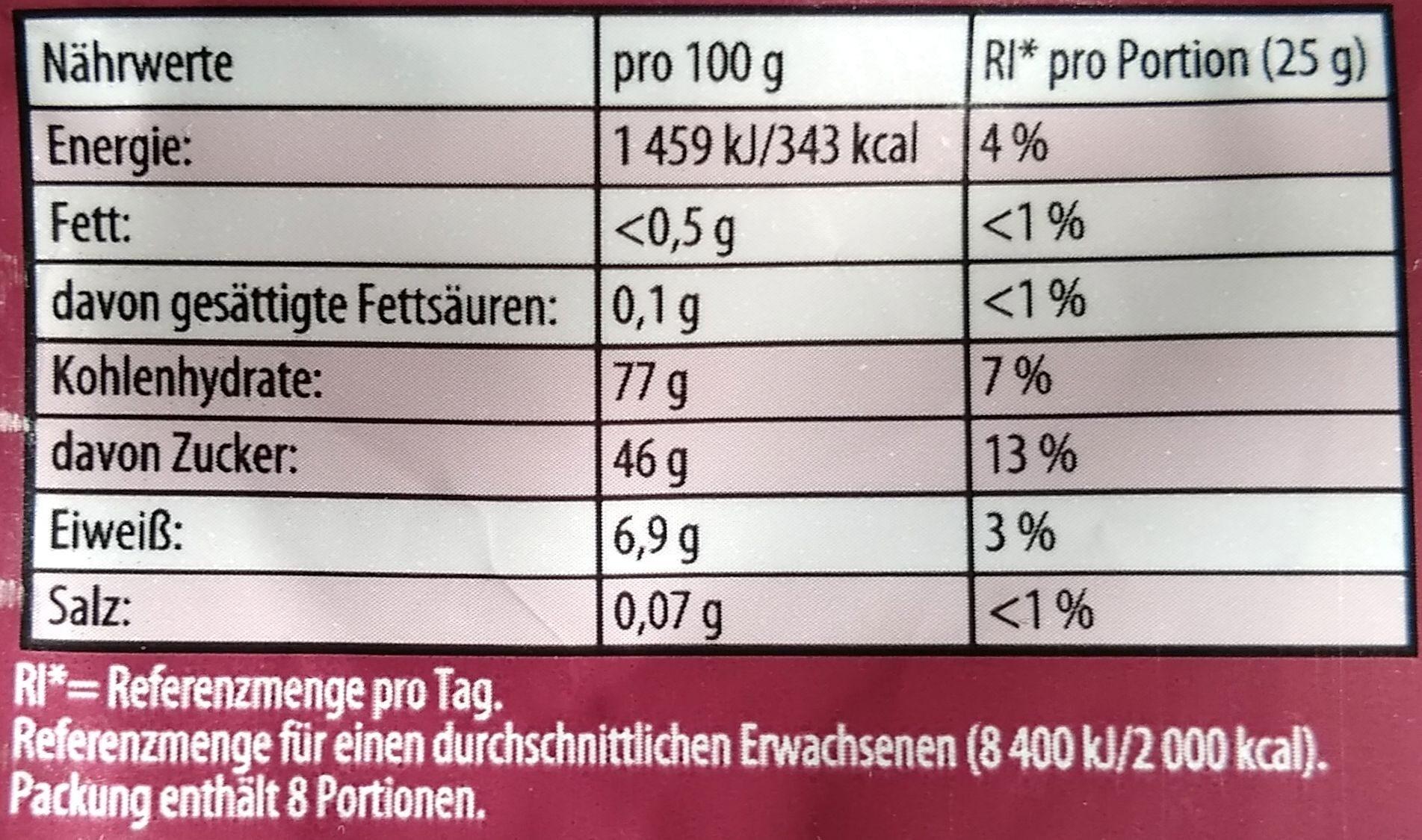 Haribo Weinland 200G - Nährwertangaben - de