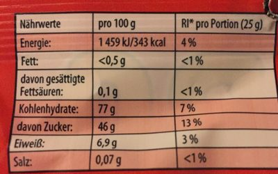 Haribo - 200G - Nutrition facts