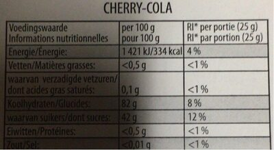HARIBO CHERRY-COLA - Nutrition facts - de