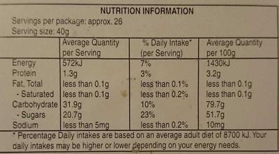 Haribo Turtles - Nutrition facts - en