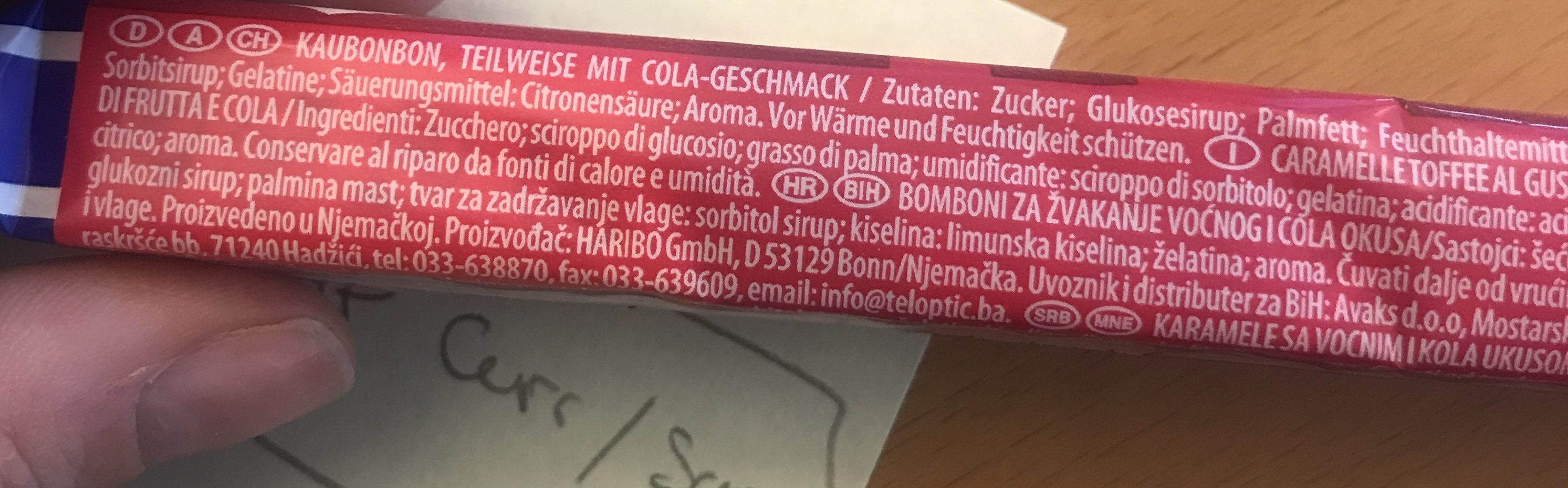 Maoam Bloxx - Ingredients