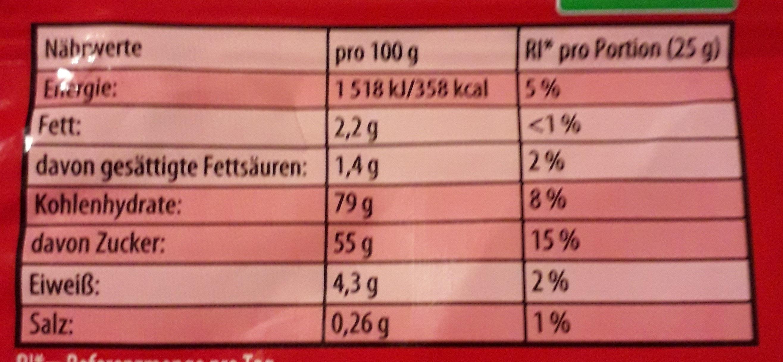 Color-Rado - Informations nutritionnelles