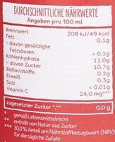 Roter Früchtepunsch - Nährwertangaben - de