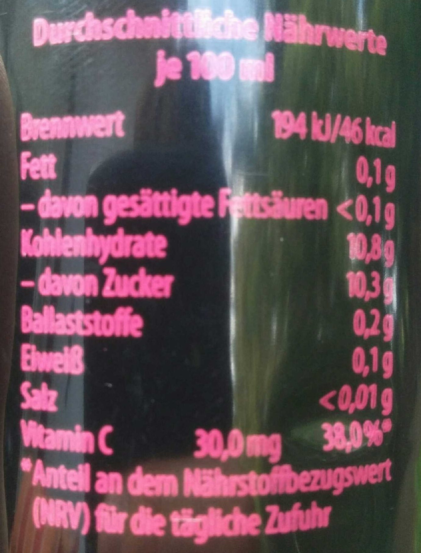 Apfel Ingwer - Nutrition facts
