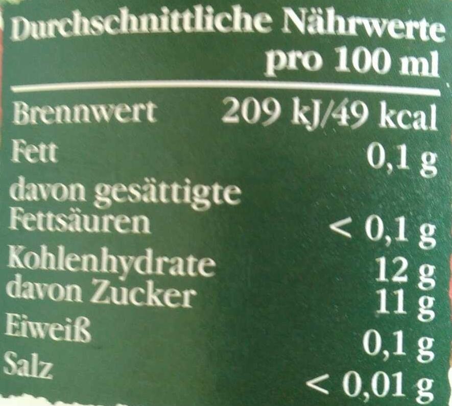Naturtrüber Apfelsaft - Informations nutritionnelles - de
