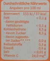 Multi Mehrfruchtsaft mit Karotte - Nährwertangaben