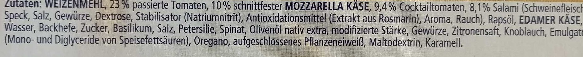 Ristorante Pizza Salame Mozzarella Pesto - Ingredients