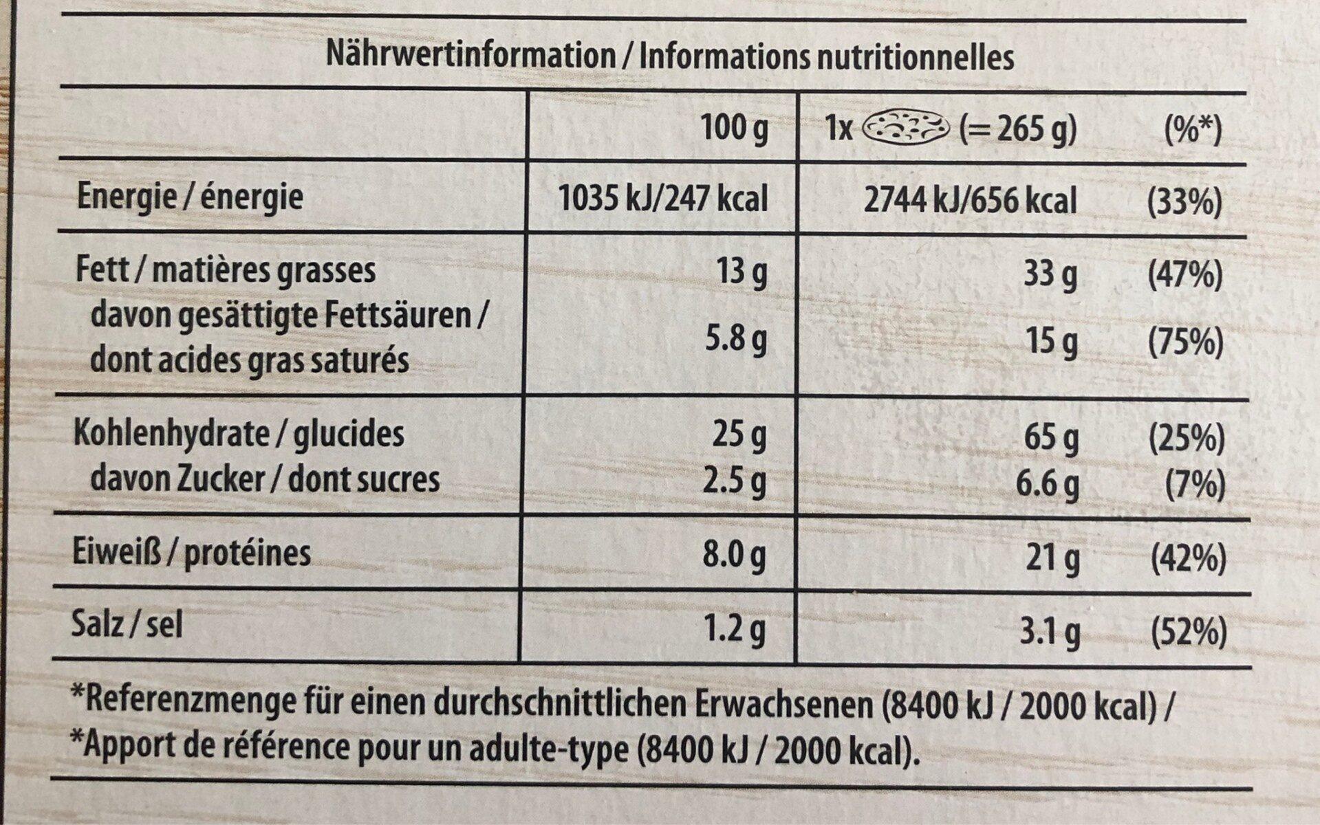 Bistro Flammkuchen Elsässer Art - Informations nutritionnelles - fr