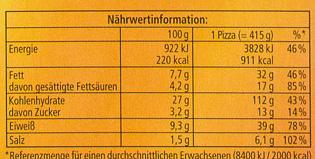 Die Ofenfrische Speciale - Informations nutritionnelles