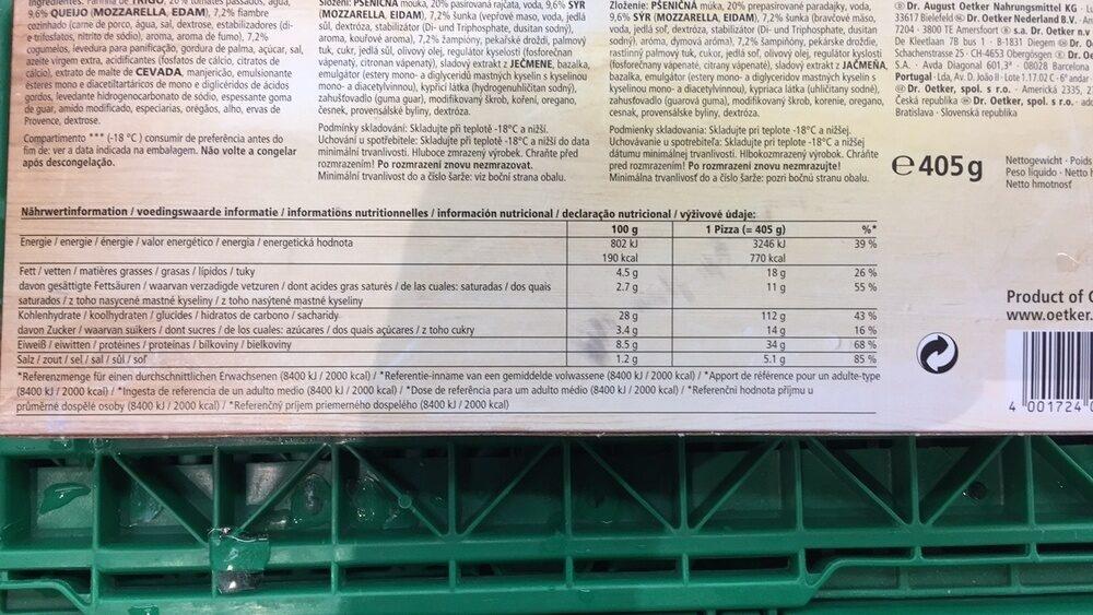 Dr. oetker Pizza Casa Di Mamma Prosciutto-funghi - Informations nutritionnelles - fr