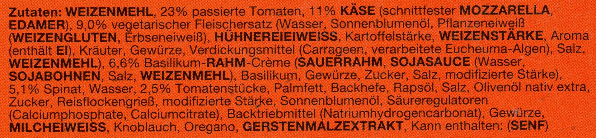 Veggie Pizza Die Zarte - Ingredients