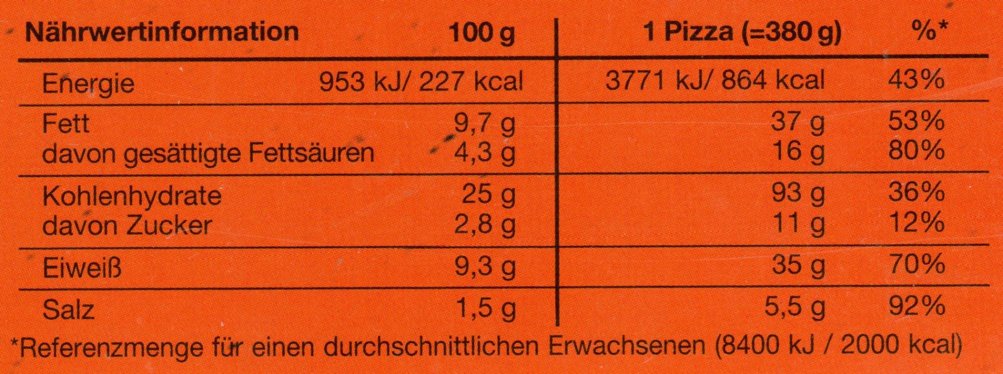 Veggie Pizza Die Zarte - Nutrition facts