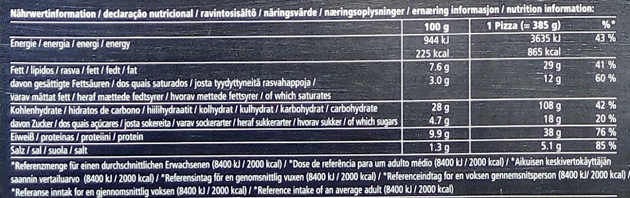Dr. Oetker Pizza Tradizionale Speciale - Nährwertangaben