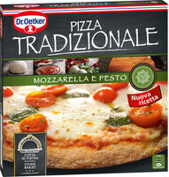 Mozzarella pizza con queso mozzarella tomate cherry y pesto - Produit - sv
