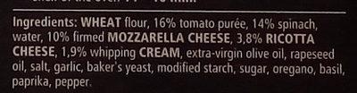 Dr. Oetker Pizza Tradizionale Spinaci e ricotta - Ingredients