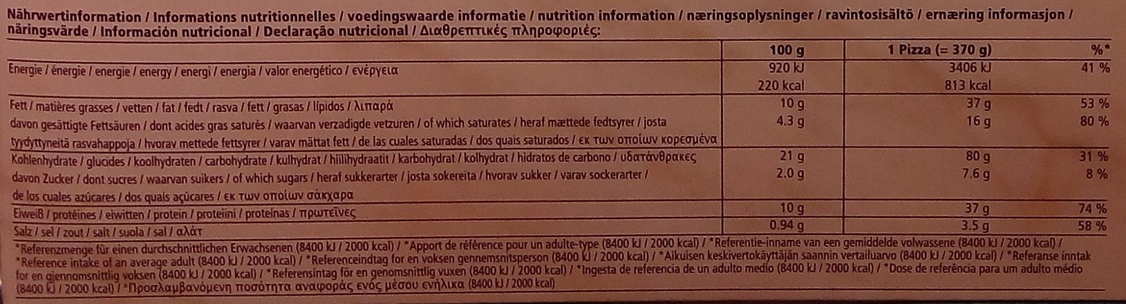 Ristorante Gluten Free Mozzarella Pizza - Informations nutritionnelles - sv