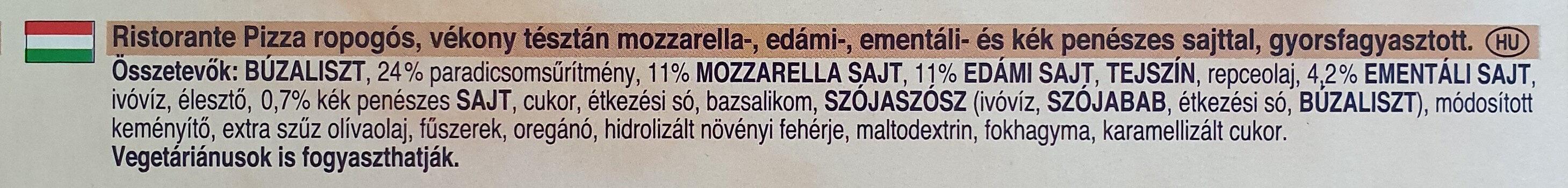 Ristorante Pizza Quattro Formaggi - Ingrédients - hu